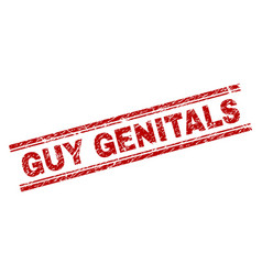 Scratched textured guy genitals stamp seal vector