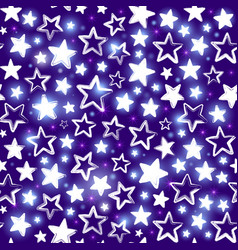 seamless pattern with shining stars on purple vector image