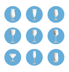 set of empty glasses in circles elegant glassware vector image