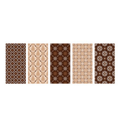set winter knitted seamless patterns in beige vector image
