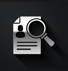Silver document paper analysis magnifying glass vector