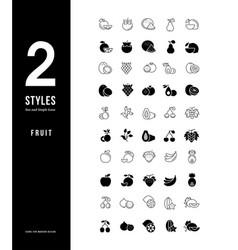 simple line icons fruits vector image