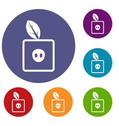 Square apple icons set vector