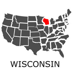 state wisconsin on map usa vector image