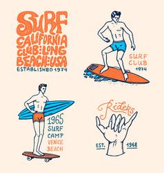 surf badge wave and ocean vintage retro vector image