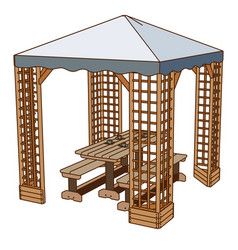 Table outdoor icon wooden chair picnic bench park vector