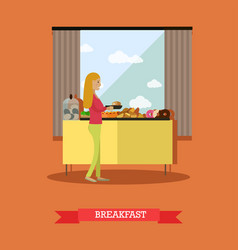 Trip to egypt breakfast concept flat style vector