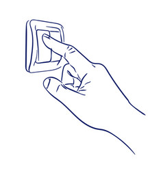 Turn light switch on hand vector