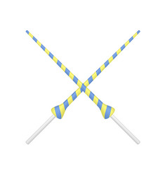 Two crossed lances in yellow and blue design vector