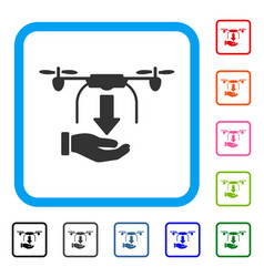 Unload drone hand framed icon vector