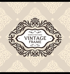 Vintage floral retro frame vector image vector image