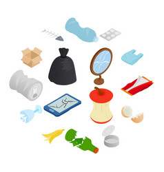 waste and garbage icons set isometric 3d style vector image