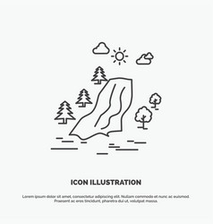 Waterfall tree pain clouds nature icon line gray vector