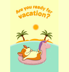 Welsh corgi on vacation float on the rubber ring vector