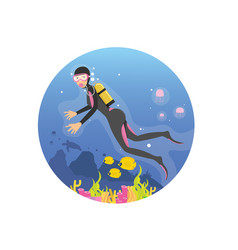 young women diving in deep sea using scuba dive vector image