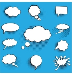 comic bubbles and elements with halftone shadows vector image