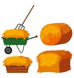 Dry hay in bucket and wagon vector