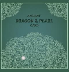 indigo oriental pearl dragon card vector image vector image