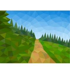 Low poly mountains with blue sky and path vector image vector image