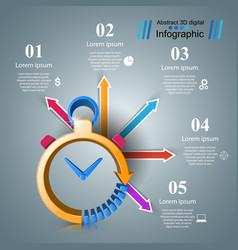 clock infographic business vector image