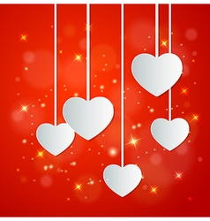 Decorative red background with white paper hearts vector image vector image