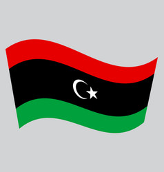 flag of libya waving on gray background vector image vector image