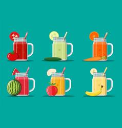 fresh vegetable and fruit juice set vector image