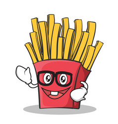 geek face french fries cartoon character vector image