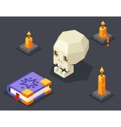 Night Wisdom Magic Icon Skull Spellbook Candles vector image vector image