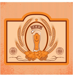 oval label with a glass of beer vector image vector image