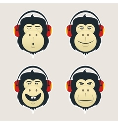 Set of monkey heads with headphones DJ monkey vector image vector image