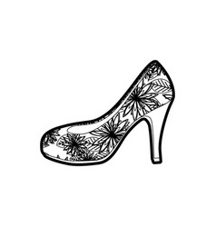 Black thick contour of high heel shoe with floral vector