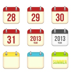 calendar app icons 28 to 31 days and blank sheets vector image