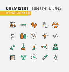 chemistry linear thin line icons set with dna vector image vector image