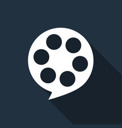 film reel flat icon with long shadow vector image