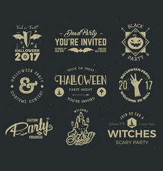 halloween 2017 party label templates with scary vector image vector image