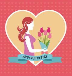 happy mothers day heart woman bouquet vector image