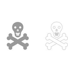 Skull and bones set icon vector
