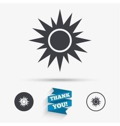 Sun sign icon Solarium symbol Heat button vector image vector image
