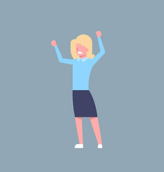 business woman cheerful hold raised hands office vector image