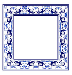 empty square frame with blue ethnic floral vector image vector image