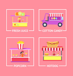 Fresh juice and cotton candy vector