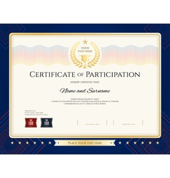 Modern certificate of participation template vector