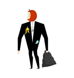 mr trash from garbage bag boss apple core litter vector image vector image