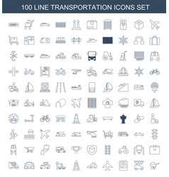 100 transportation icons vector image