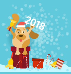 2018 new year poster with dog holding bell and vector image