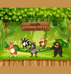 Animals perform jungle dance party vector
