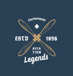 Aviation legends airplane retro label sign vector