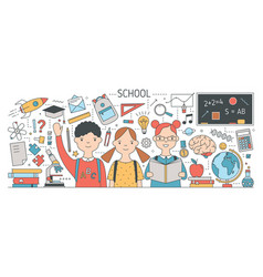Back to school banner with cute happy children or vector