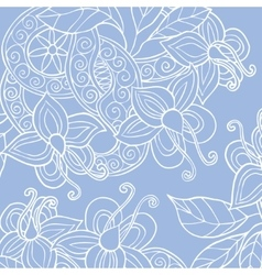 Background with hand drawn flowers leafs and vector image